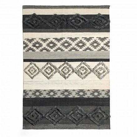 Rektangulär matta i ull, bomull och viskos för modernt vardagsrum - Zorro