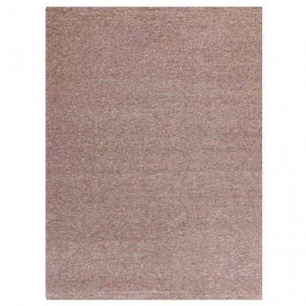 Modern design rektangulär matta i siden och brun eller grädde bomull - Kuta
