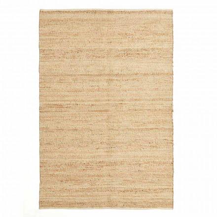Rektangulär matta i ull, jute och bomull Modern design för vardagsrum - Remino