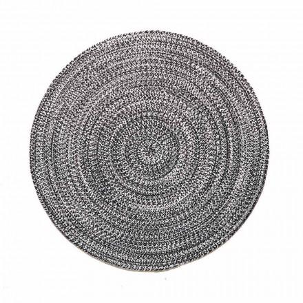 Modern rund matta för vardagsrum i handvävd bomull - Redondo