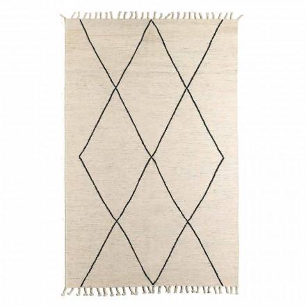 Vardagsrumsmatta i ull och bomull med modern geometrisk design - Metria