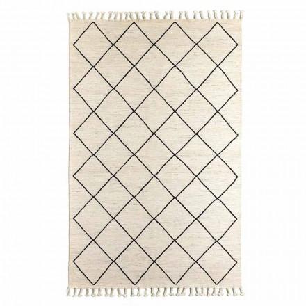Modern vardagsrumsmatta med geometriskt mönster i ull och bomull - Metria