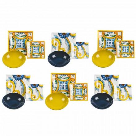 Elegant färgat dekorerat bord, porslin och stengods 18 stycken - plattor