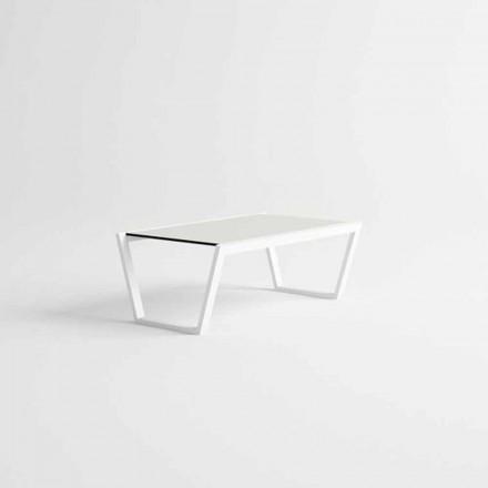 Trädgårds soffbord med låg design i vitt aluminium - Louisiana3