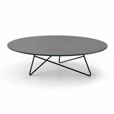 Runt soffbord för vardagsrum i metall och glas med lyxig marmoreffekt - Magali