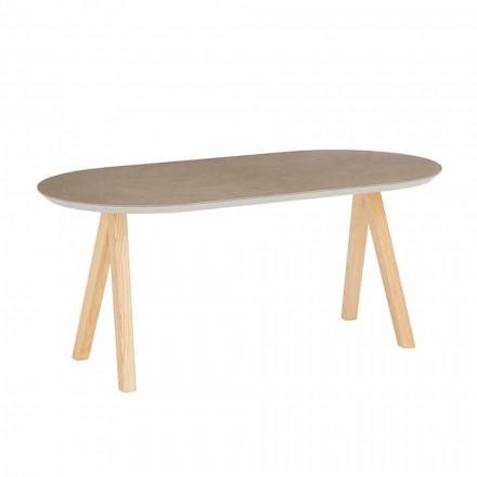 Soffbord i keramiskt och naturligt trä Modern oval design - Amerigo