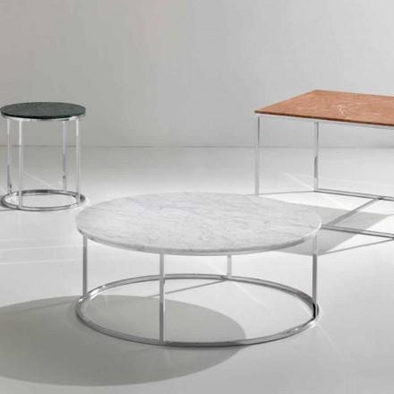 Soffbord i vitt Carrara marmor kaffe med krom bas Zeus