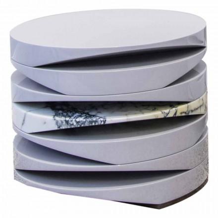 Soffbord i vit marmor med insats i Paonazzo Made in Italy - Vita