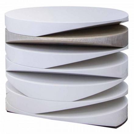 Soffbord i vit marmor med travertininsats Tillverkad i Italien - Vita
