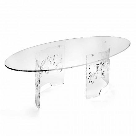 Soffbord i rökt eller transparent plexiglas med dekorerad bas - Crassus