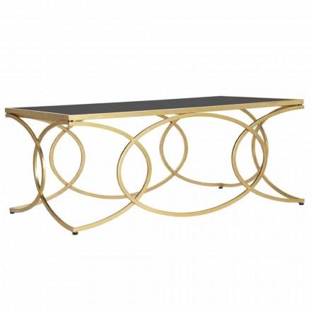 Rektangulärt soffbord i järn och designspegel - gladhet