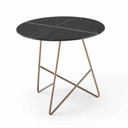 Runt soffbord i metall och lyxigt marmoreffektglas - Magali