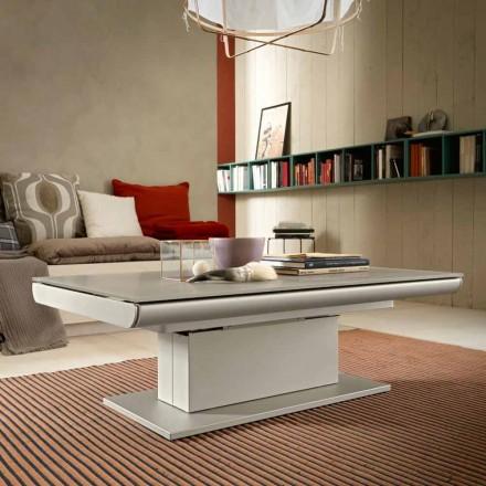 Omvandlande soffbord i glas och stål tillverkat i Italien - Silvestro
