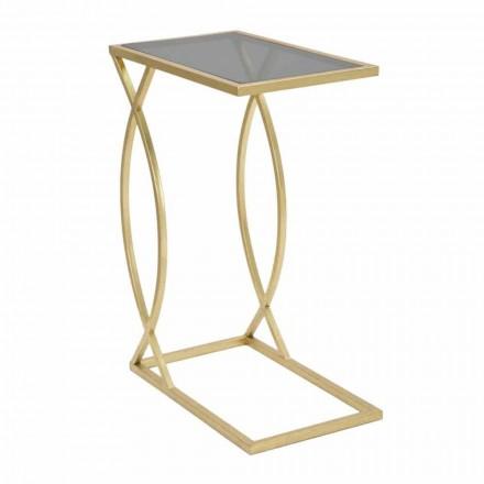 Modern design rektangulär soffbord i järn och glas - Herbie