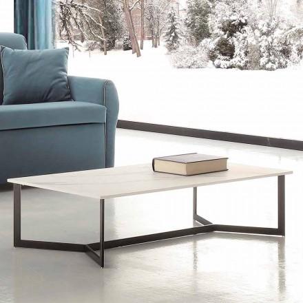 Soffbord med Hpl topp vit marmoreffekt tillverkad i Italien - Indio