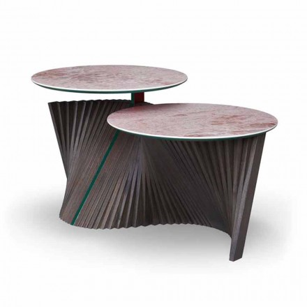 Lyxigt soffbord med 2 runda toppar i Gres Made in Italy - Stockholm