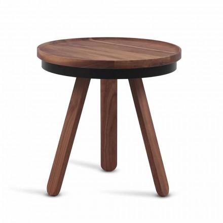 Design Soffbord med rund topp och ben i massivt trä - Salerno
