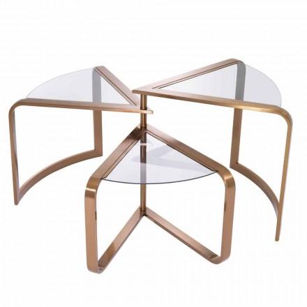 Design Soffbord i glas med kopparfinishdetaljer - Carpi