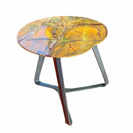 Soffbord Handgjord i marmor och stål Tillverkad i Italien - Prince