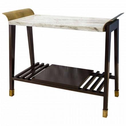 Soffbord för körsbär, marmor och mässing i Italien - Barto