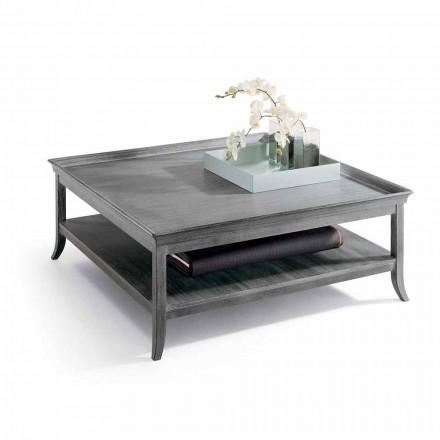 Soffbord i silver lackad trä lounge, L130xP130 cm, Berit
