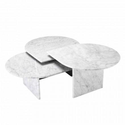 Soffbord i vitt Carrara marmorformat av 3 stycken - Marsala