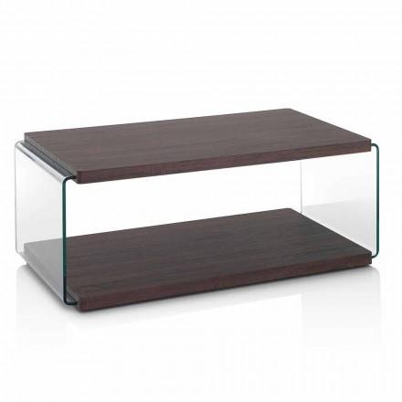 Soffbord i valnötsmdf och transparent glas i 2 storlekar - Mindie