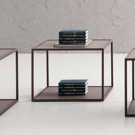 Soffbord av metall med kristallskiva tillverkat i Italien - Fermio