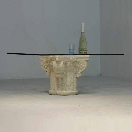 Vicenza sten soffbord och handskuren Balos kristall