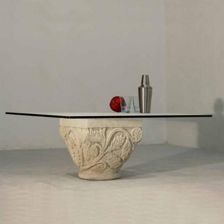 Handskuren bord i Vicenza Stone och Mytros kristall