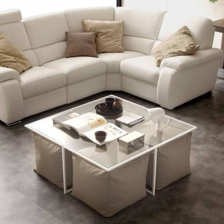 Soffbord glas vardagsrum med fyra ottoman i konstläder Lula
