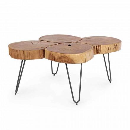 Homemotion Modernt soffbord i trä och målat stål - Severo