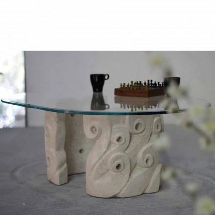 Ovalt soffbord i Vicenza sten och kristall, handskuren Lindos