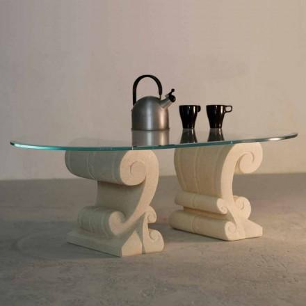 Ovala soffbord handgjorda Vicenza sten och Aracne-S kristall