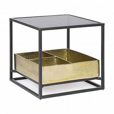 Homemotion fyrkantigt soffbord med glasskiva - Sigismondo