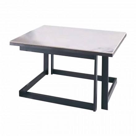 Fyrkantigt soffbord i Gres med metallbas tillverkat i Italien - Albert