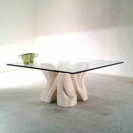 Fyrkantig Vicenza sten soffbord och handskuren kristall Kos