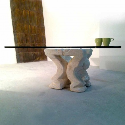 Kvadratisk bord handskuren i Vicenza Stone Medusa-S