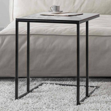 Fyrkantigt soffbord i keramiskt glas med metallbas - Anselmo