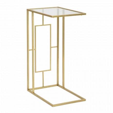 Rektangulärt soffbord i järn och modernt glas - Albertino