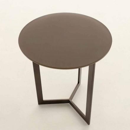 Runt soffbord med kristallplatta Tillverkad i Italien - Indio