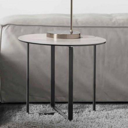 Runt soffbord med vit marmorkeramikglasplatta - Anselmo