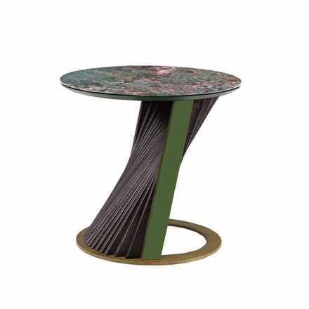 Lyxigt runt soffbord i Gres och ask tillverkat i Italien - Bering