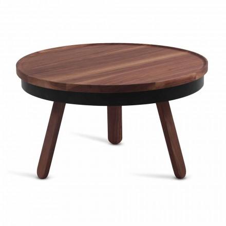 Runt design soffbord i massivt trä och metall - Salerno