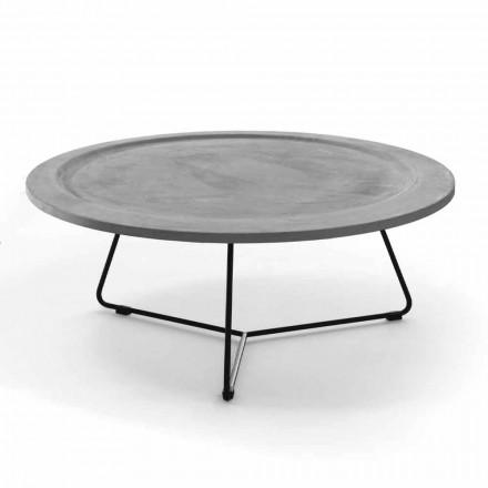 Runt soffbord i betong och svartmetall tillverkad i Italien - Evolve