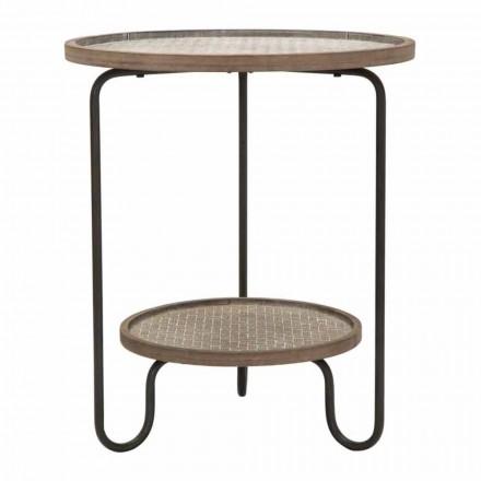 Modern design rund järn och MDF soffbord - Luther
