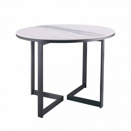 Runt soffbord i Gres och modern metall tillverkad i Italien - Albert