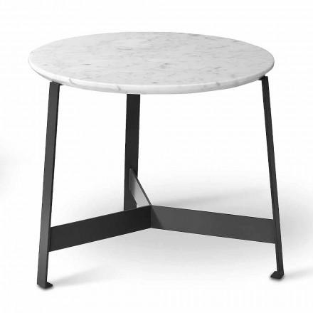 Runt marmor soffbord med metallbas tillverkad i Italien - Juliana