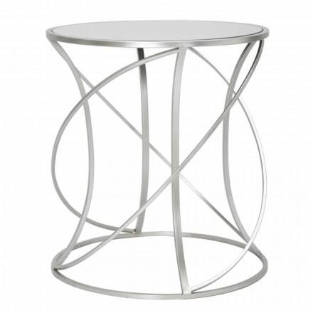 Modern stil runda järn och spegel soffbord - Cymone