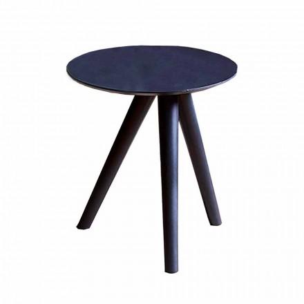 Runt soffbord i svartgrå lackerat trä tillverkat i Italien - Stuttgart